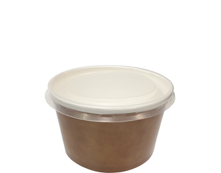 Multi-Food Pot & PP Lid Combo-Pak', 470 ml Brown kraft/Natural Lid - Castaway