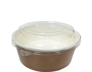 Multi-Food Pot & PET Lid Combo-Pak', 550 ml Brown kraft/Clear Lid - Castaway