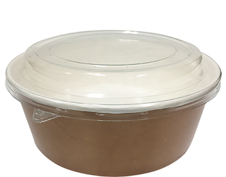 Multi-Food Pot & PET Lid Combo-Pak', 1000 ml Brown kraft / Clear Lid - Castaway