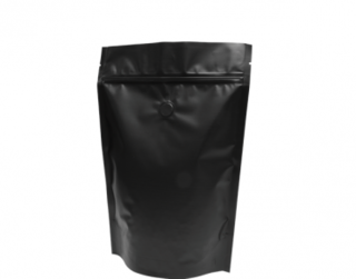 500g Stand-Up Coffee Pouch, Rip-Top & Resealable Zipper, Matte Black - Castaway