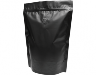 1kg Stand-Up Coffee Pouch, Rip-Top & Resealable Zipper, Matte Black - Castaway