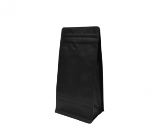 500g Box Bottom Coffee Bag, Resealable Zipper, Matte Black - Castaway