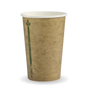 10oz Coffee Cups Kraft Green Line 80mm Single Wall Biopak