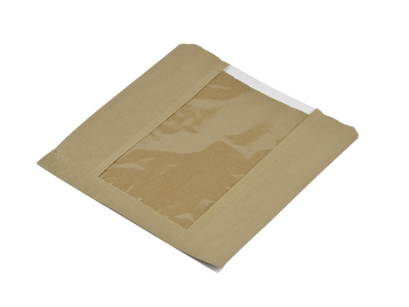 Kraft NatureFlex window bag 216x216mm - Vegware