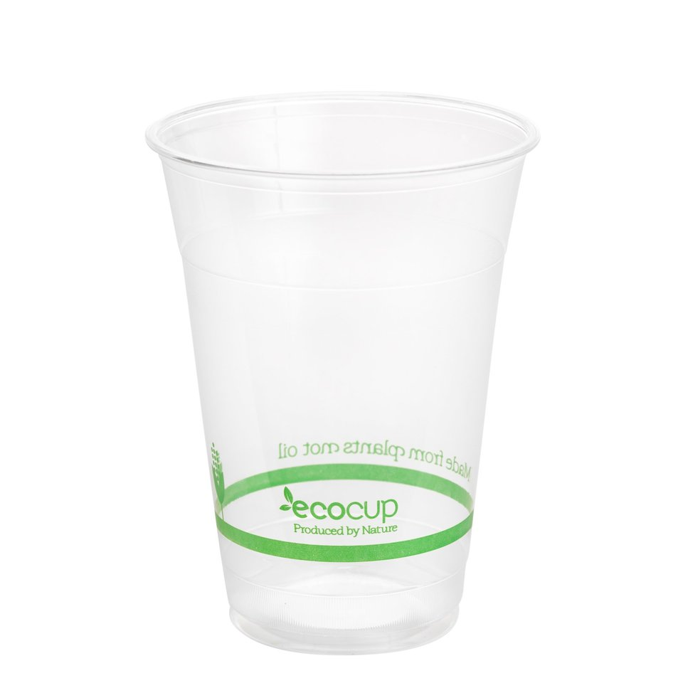 600ml Clear Cold Cup PLA Green logo - Ecoware