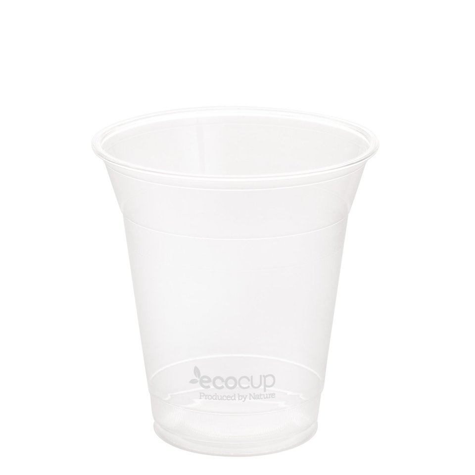 360ml Clear Cold Cup PLA White Logo - Ecoware