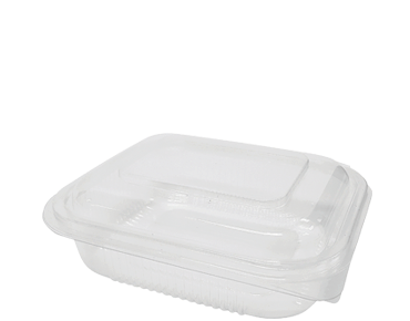 Eco-Smart' BettaSeal' Snack Rectangular Container Medium, Hinged Dome Lid, Clear - Castaway