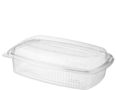 Eco-Smart' BettaSeal' Lunch Rectangular Container Large, Hinged Dome Lid, Clear - Castaway