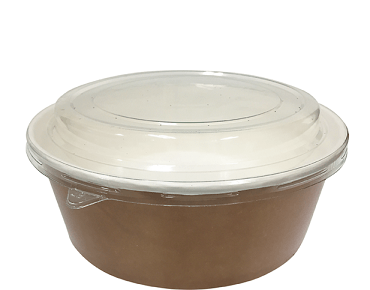 Multi-Food Pot & PET Lid Combo-Pak', 700 ml Brown kraft/Clear Lid - Castaway