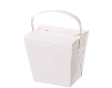 Paper Food Pail with Paper Handle 16oz Medium, White - Castaway