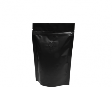 250g Stand-Up Coffee Pouch, Rip-Top & Resealable Zipper, Matte Black - Castaway